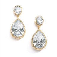Mariell 2074E-G Gold Plated CZ Wedding Earrings - pierced or clip