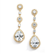 Gold Plated Pear CZ Drop Wedding Earrings Pierced or Clip On