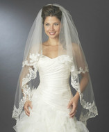 Two Layer Knee Length Wedding Veil with Floral Lace Embroidery