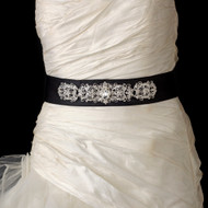 Black Satin Crystal Beaded Wedding Dress Belt - sale!
