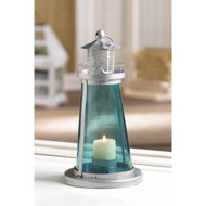 12 Blue Glass Lighthouse Beach Wedding Candle Lanterns