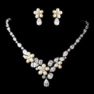 Freshwater Pearl and CZ Floral Wedding Jewelry - sale!