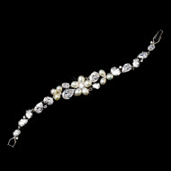Petite Length Freshwater Pearl and CZ Crystal Bracelet