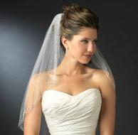 Dazzling Rhinestone Accented Elbow Length Wedding Veil