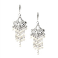 Vintage Look Pearl and CZ Chandelier Wedding Earrings 4067E