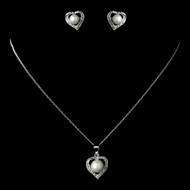 Charming White Pearl and CZ Silver Heart Jewelry Set
