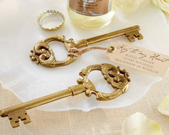 "96 Gold ""Key to My Heart"" Antique Bottle Opener Wedding Favors"