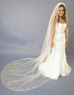 Beaded Cathedral Wedding Veil Elena Designs E1122L - sale!