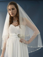 Two Layer Beaded Fingertip Wedding Veil Ansonia Bridal 469