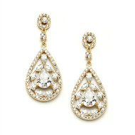 Gold CZ Mosaic Drop Wedding Earrings
