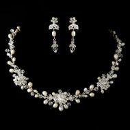 Freshwater Pearl, Rhinestone and Crystal Wedding Jewelry Set