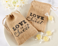 144 Love is Sweet Burlap Drawstring Wedding Favor Bags