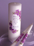 Purple Orchid Floral This Day Wedding Unity Candle
