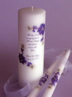 Dark Purple Floral This Day Wedding Unity Candle Set