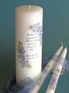 Light Blue Floral This Day Wedding Unity Candle Set