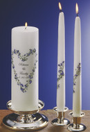 Forget Me Not Heart Personalized Wedding Unity Candle Set