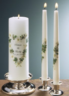 Green Fern Heart Personalized Wedding Unity Candle Set