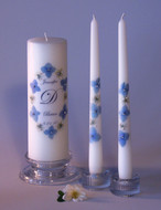 Blue Hydrangea Crystal Personalized Unity Candle Set