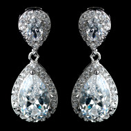Clear Tear Drop CZ Crystal Wedding Earrings