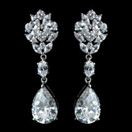 Stunning Antique Rhodium CZ Teardrop Wedding Earrings