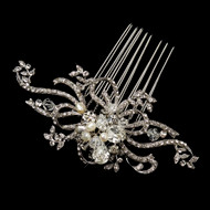 Freshwater Pearl and Crystal Swirl Wedding Comb