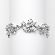 Mosaic CZ Wedding Bracelet in Silver Rhodium - Petite Size