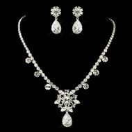 Glamorous CZ Wedding Necklace and Earring Set