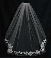 Lace Edge Fingertip Wedding Veil V5980 by JL Johnson Bridals