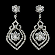 Antique Silver CZ Floral Wedding Earrings
