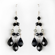Black Crystal Chandelier Earrings for Wedding and Prom- sale!
