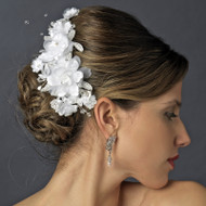 Fabric Flower and Rhinestone Wedding Hair Clip
