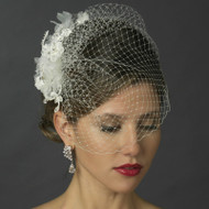 White Birdcage Veil with Crystal and Lace Fascinator