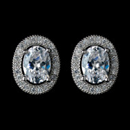 Oval CZ Crystal Pave Wedding Stud Earrings