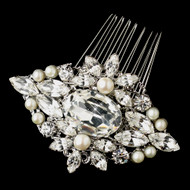 Freshwater Pearl and Rhinestone Rhodium Wedding Hair Comb