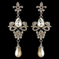 Fleur de Lis Vintage look Crystal and Pearl Wedding Earrings