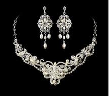 Freshwater Pearl Wedding  Jewelry Set with Chandelier Earrings