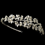 Silver Plated Pearl and Rhinestone Vine Wedding Headband