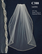 Elbow Length Wedding Veil with Beaded Marquis Edge C388