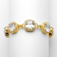 Cushion Cut CZ Gold Wedding Bracelet in Petite Length- sale!