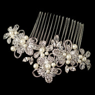 Diamond White Pearl and Crystal Rhodium Wedding Comb