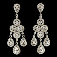 Round and Teardrop CZ Chandelier Wedding Earrings