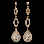 Gold Plated Teardrop CZ Pave Wedding Earrings