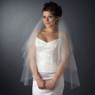 Two Layer Fingertip Length Wedding Veil with Scattered Crystals