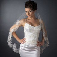 Fingertip Length Wedding Veil with Beaded Silver Embroidery