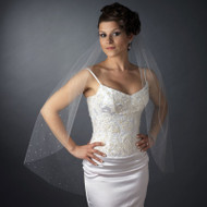 Fingertip Length Wedding Veil with Scattered Rhinestones