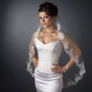 Fingertip Length Wedding Veil with Beaded Scallop Floral Embroidery