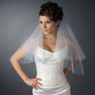 Two Layer Elbow Length Wedding Veil with Scattered Crystals