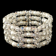 White Pearl and Crystal 4 Row Wedding Stretch Bracelet