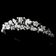 Diamond White Porcelain Floral and Pearl Wedding Tiara - sale!
