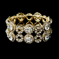 Gold Plated Crystal Stretch Bracelet for Wedding or Prom